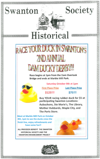 2nd Annual Dam Ducky Derby @ Dam Overlook & Marble Mill Park